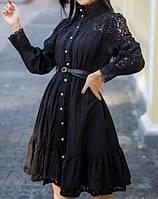Женское коттоновое платье с кружевом, фото 1
