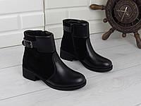 """Ботинки, ботильоны, черные ДЕМИ """"Stella"""" НАТУРАЛЬНАЯ КОЖА + ЗАМША качественная, повседневная женская обувь"""