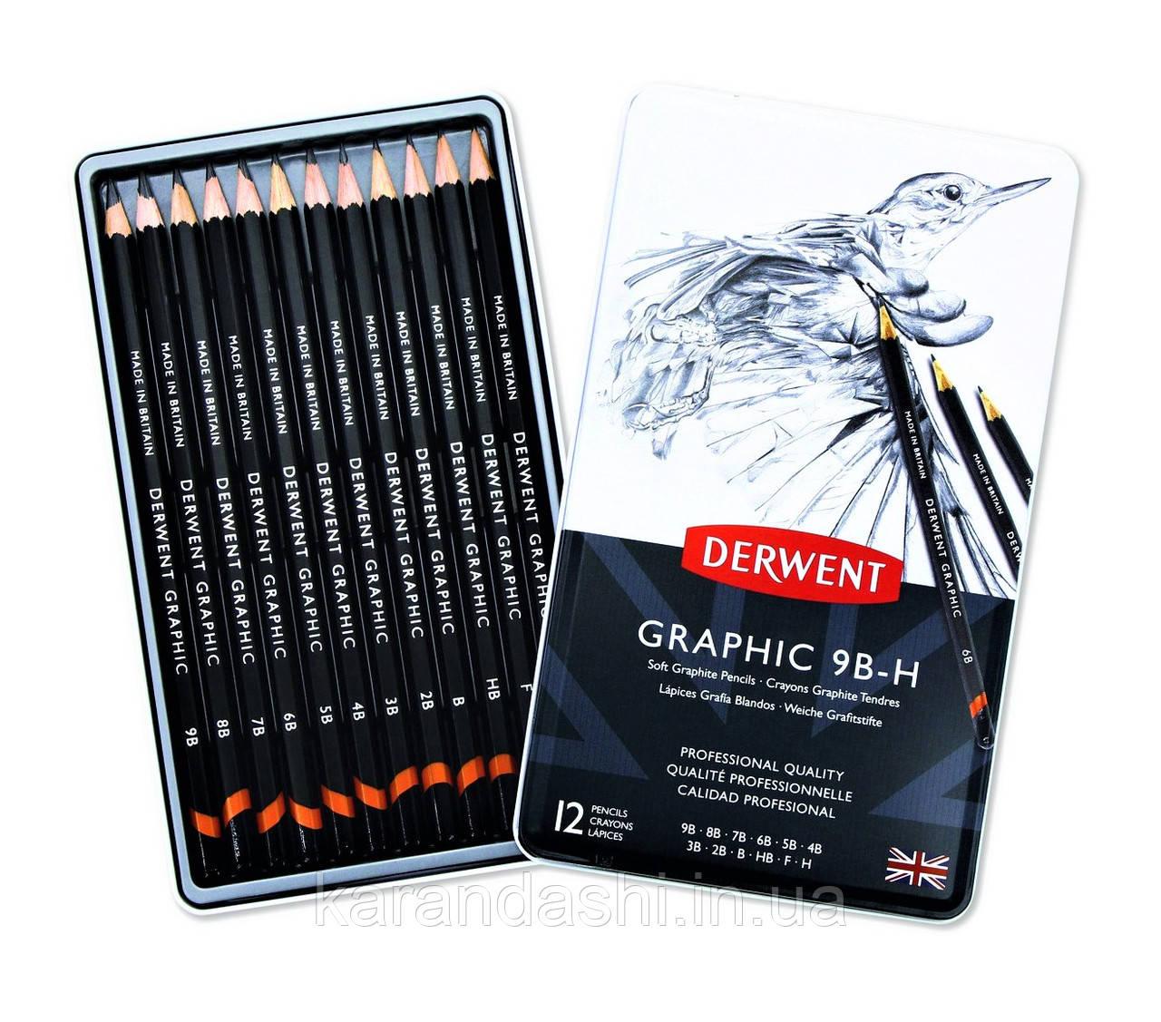 Набор графитных карандашей DERWENT Graphic (9B-H) 12 шт. в металлической коробке  34215