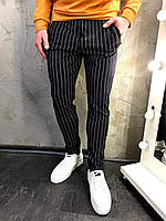 Мужские черные штаны в полоску