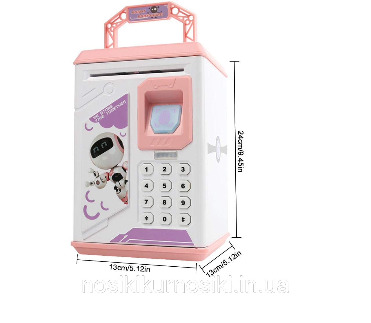 Детский сейф копилка с кодовым замком и отпечатком пальца арт 906, цвет розовый Robot Bodyguard