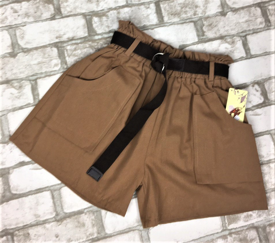 Женские шорты коричневые с ремешком