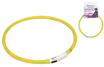 Светящийся ошейник для собак, силикон, желтый, Croci 40 см