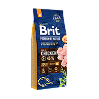 Корм Брит Премиум Адалт М Brit Premium by Nature Adult М для собак средних пород 15 кг