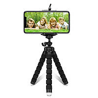 Гибкий штатив Lesko Black с держателем смартфона  Универсальный Обзор 360 градусов Трипод камеры фотоаппарата