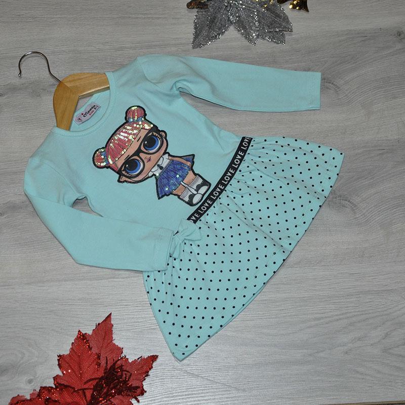 Детское трикотажное платье, размер 1-4 года (4 ед. в уп.) голубой