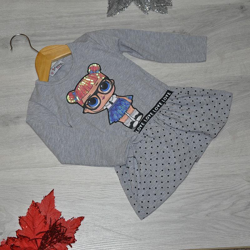 Детское трикотажное платье, размер 1-4 года (4 ед. в уп.) серый