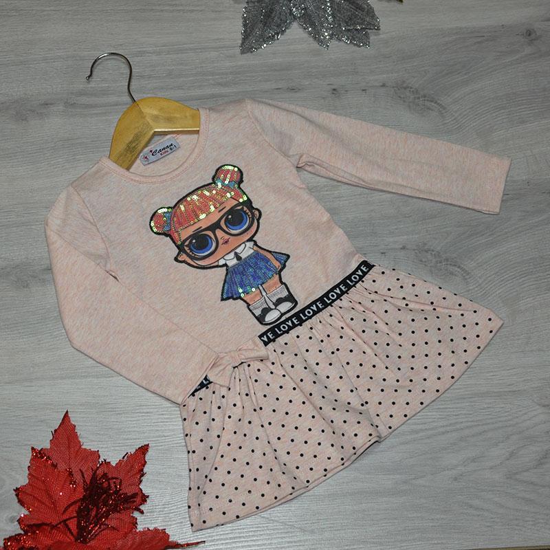 Детское трикотажное платье, размер 1-4 года (4 ед. в уп.) персиковый