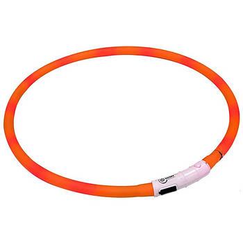 Светящийся ошейник для собак, силикон, оранжевый, Croci 40 см