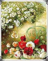 """Алмазная живопись """"Розы в корзине на стуле"""""""