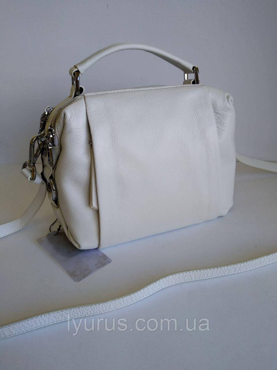 Женская кожаная сумка  Polina & Eiterou белая