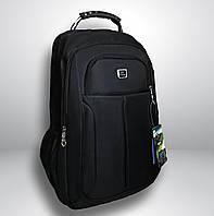 Большой классический мужской черный рюкзак городской, офисный, деловой, для ноутбука