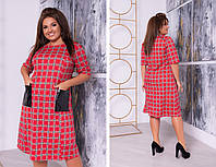 Модное трикотажное платье миди, в клетку, силуэт расклешенный от груди, карманы экокожа, рукав 3\4 (48-62)