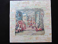 Картина на холсте в технике декупаж, 25х25см, 125\95