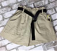 Женские шорты бежевые с ремешком, фото 1