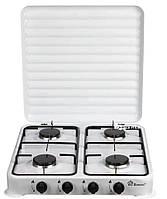 Настольный газовый таганок плита Domotec MS 6604 на 4 конфорки цвет белый