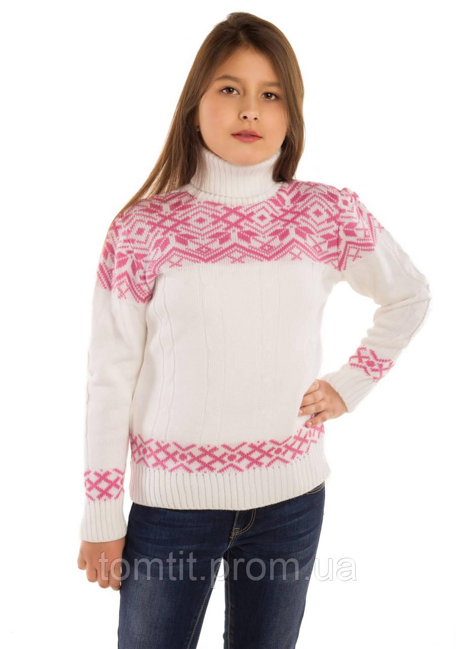 """Теплый, шерстяной свитер """"Дина"""", цвет белый,"""