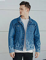 Мужская джинсовая куртка синяя Staff blue fire