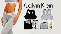 Женский спортивный комплект Кельвин Кляйн лосины + топ комплект лосины и топ для фитнеса Черный, фото 1