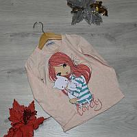 Детский батник из трикотажа, для девочек 5-8 лет (4 ед в уп)