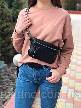 Жіноча шкіряна сумка бананка через плече і на поясі