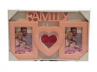 """Фоторамка """"Family"""", розовая на 3 фото"""