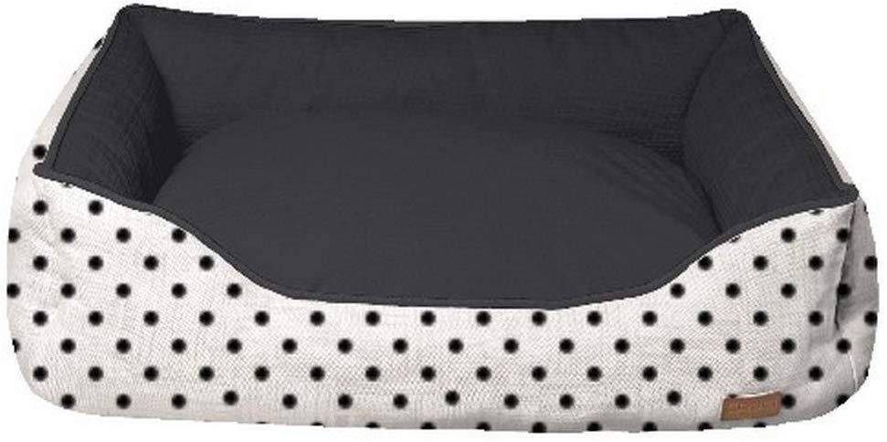 Лежак для собак и котов COZY IMPACT, прямоугольный, черно-белый в горох