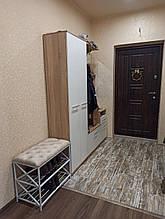 Банкетка в коридор з полицями для взуття, м'яке сидіння.