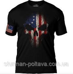 """Футболка мужская патриотическая -"""" Дух война""""  цветной  флаг США  7.62 Design  betsy ross flag skull"""