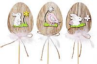 Декоративный пасхальный стик Яйцо с декором 30см, 3 вида 781-974