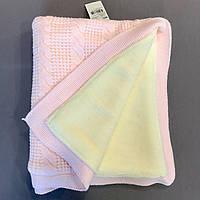 Теплый вязаный детский плед покрывало с мехом розовый