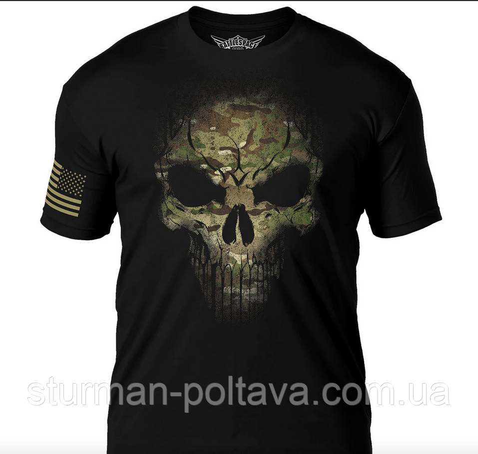Футболка мужская   Дух воина 7.62 Design Дух война камуфляж  мультикам Camo Skull Battlespace