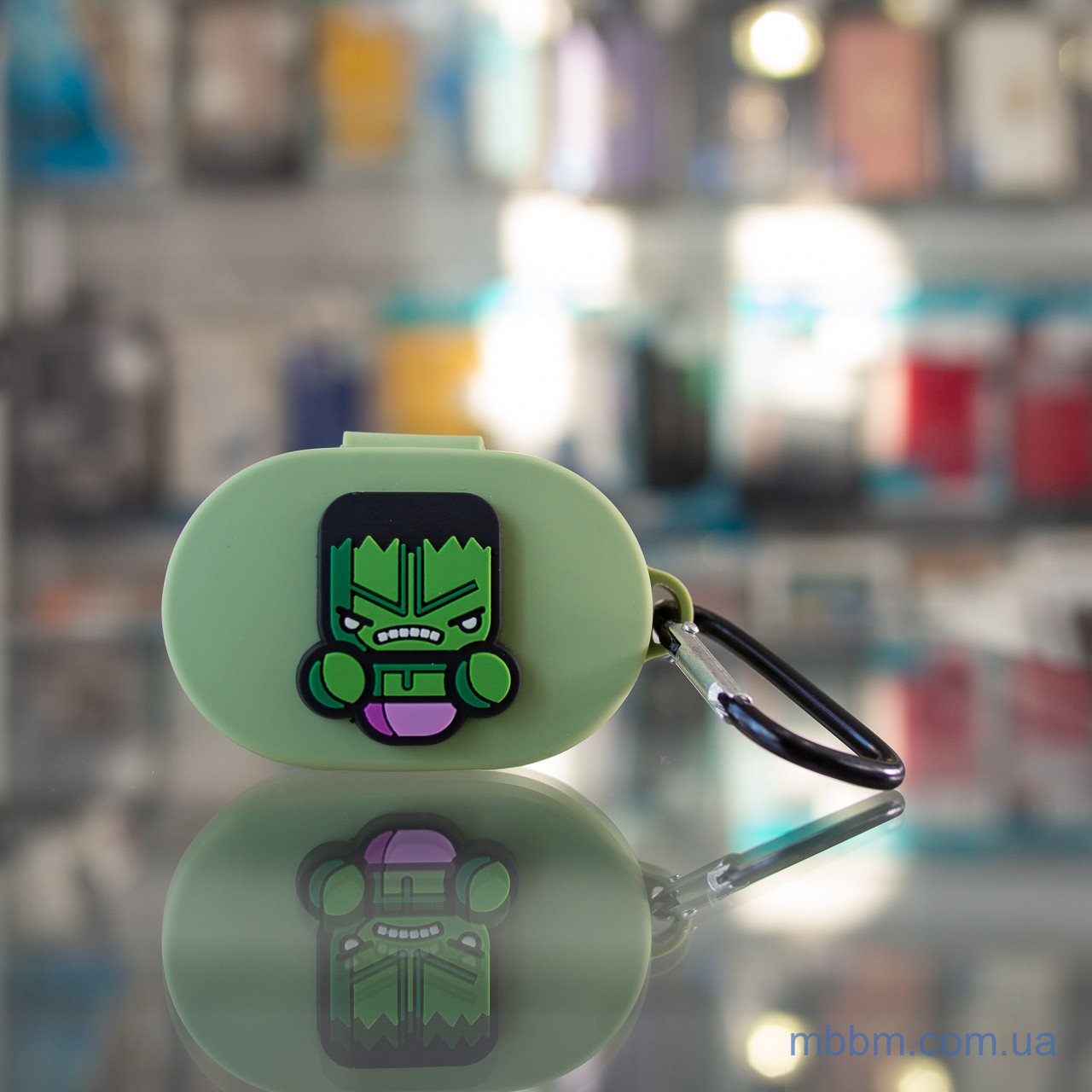 Чехол silicone Xiaomi AirDots with carabine SuperHERO Green №1