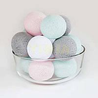 """Гирлянда """"Хлопковые шарики"""" (20 шариков 3,20см) розовый серый белый бирюза"""
