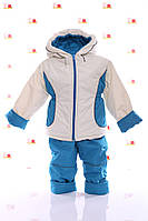 Детская Куртка и полукомбинезон весна-осень для малыша Белый с бирюзовым