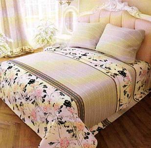 Постільна білизна розмір полуторний Бязь Gold 150х215 см рожевий з квітами