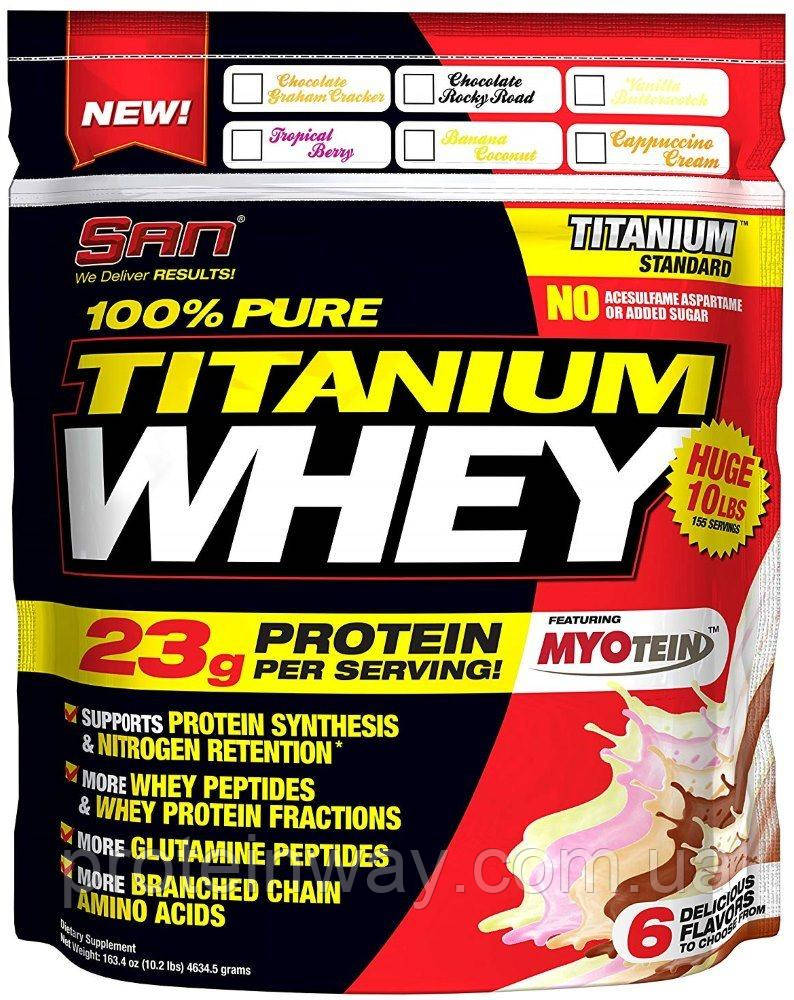 SAN Сывороточный протеин 100% Pure Titanium Whey 4540 г