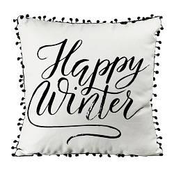 Подушка из мешковины с помпонами Happy winter 45x45 см (45PHBP_19NG001)