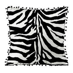 Подушка из мешковины с помпонами Окрас зебры 45x45 см (45PHBP_EX001)