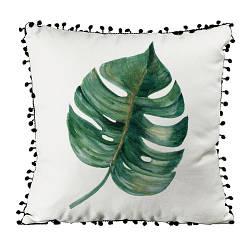 Подушка из мешковины с помпонами Тропический листок 45x45 см (45PHBP_EX002)
