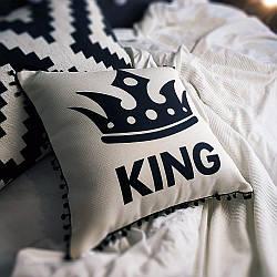 Подушка из мешковины с помпонами King 45x45 см (45PHBP_URB001)