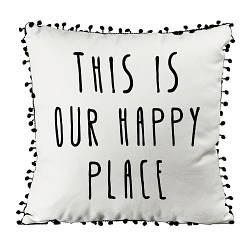 Подушка из мешковины с помпонами This is our happy place 45x45 см (45PHBP_URB003)