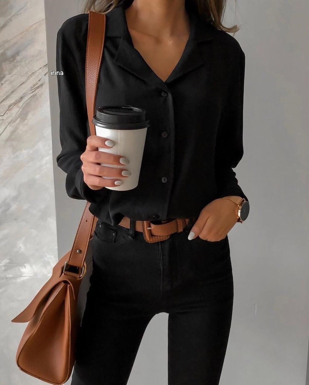 Рубашка женская белая, чёрная,  42-44, 44-46