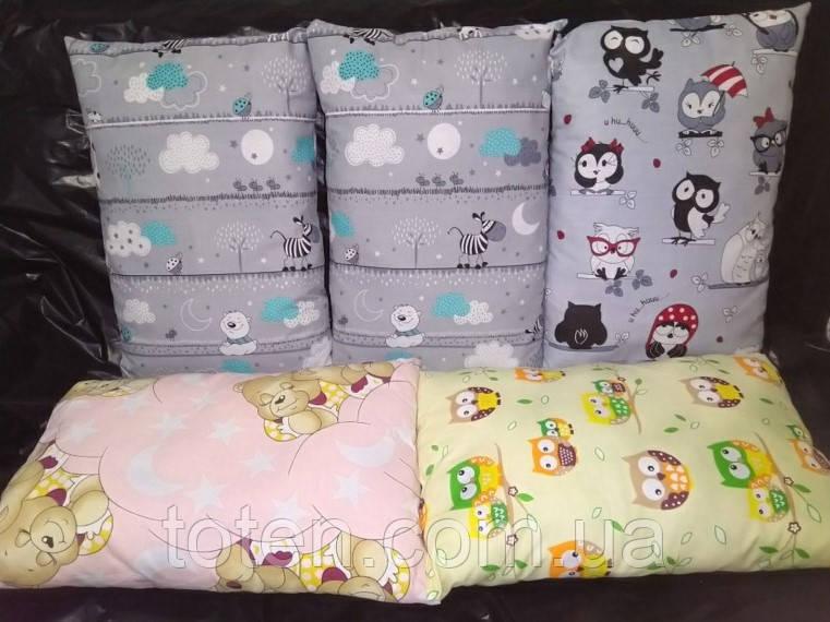 Прямоугольная подушка в детскую кроватку размер 35*45 см хлопок 100%. Подушка для коляски, люльки, дет сада
