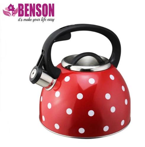 Чайник со свистком из нержавеющей стали Benson BN-706 3 л | Нейлоновая ручка | Индукция PR3