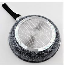 Сковорода з гранітним покриттям Benson BN-515 24*5.5 см | Кришка | Індукція | Бакелітова ручка, фото 2
