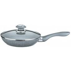 Сковорода литая - кованый алюминий с крышкой. Мраморное покрытие внутри - 24 см. Benson BN-340 PR4