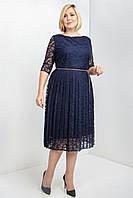 Темно-синее гипюровое платье А-силуэт с пышной юбкой миди размера 52, 56