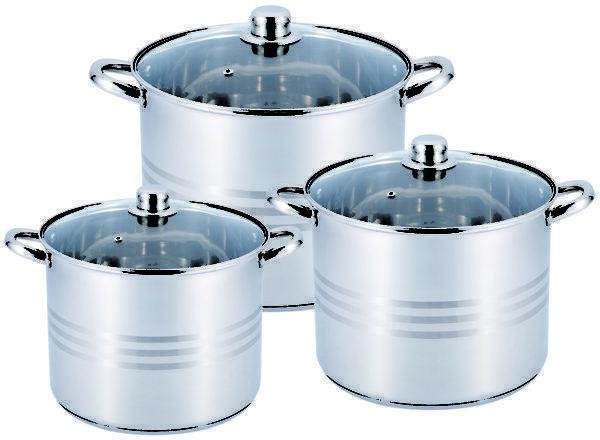 Набор кастрюль из нержавеющей стали 6 предметов для ресторанов и кафе Benson BN-215 (11 л, 13 л, 16 л) PR5