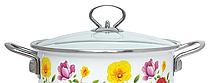 Емальована каструля з кришкою Benson BN-119 біла з квітковим декором (4.8 л) | кухонний посуд | каструлі, фото 3